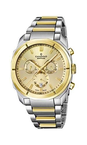 Candino Herren Armbanduhr Quarz mit Gold Zifferblatt Chronograph-Anzeige und zwei Ton Edelstahl Armband C45831