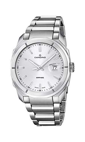 Candino Herren Quarz-Armbanduhr mit Silber Zifferblatt Analog-Anzeige und Silber Edelstahl Armband C45851