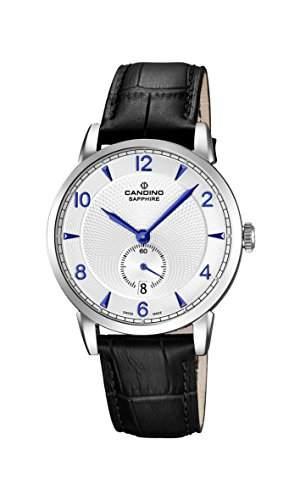 Candino Herren Quarz-Uhr mit weissem Zifferblatt Analog-Anzeige und schwarz Lederband C45912