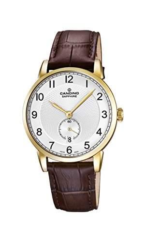 Candino Herren Quarz-Uhr mit weissem Zifferblatt Analog-Anzeige und braunem Lederband C45921