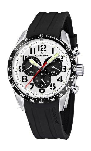 Candino Mens Armbanduhr Chronograph Kunststoff schwarz oder Pu Strap C4472 1 Stueck