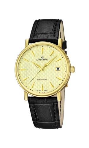 Candino Herren Armbanduhr Analog Quarz goldfarbenes Zifferblatt und schwarzes Lederband C4489 2