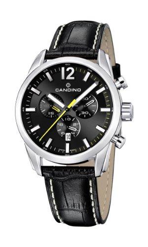 Candino Herren Quarzuhr mit schwarzem Zifferblatt Chronograph Anzeige und schwarzes Lederband C4408 9