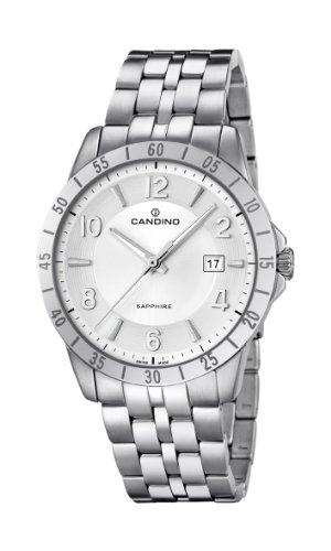 Candino MenQuarz Uhr mit weissem Zifferblatt Analog Anzeige und Silber Edelstahl Armband C4513 4