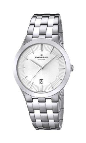 Candino MenQuarz Uhr mit weissem Zifferblatt Analog Anzeige und Silber Edelstahl Armband C4539 1