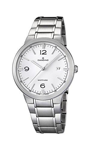 Candino Herren Quarz Uhr mit weissem Zifferblatt Analog Anzeige und Silber Edelstahl Armband C4510 1