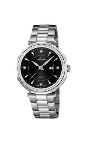 Candino WomenHerren Quarzuhr mit schwarzem Zifferblatt Analog Anzeige und Silber Edelstahl Armband C4523 4