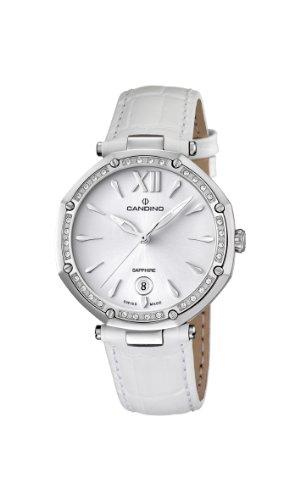 Candino WomenQuarz Uhr mit weissem Zifferblatt Analog Anzeige und weisse Lederband C4526 1