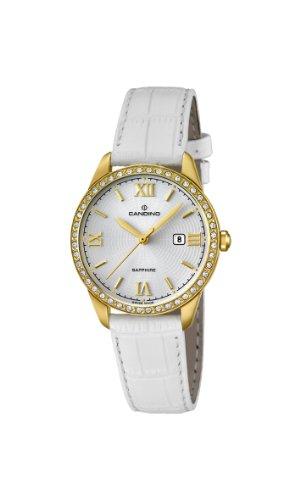 Candino WomenQuarz Uhr mit weissem Zifferblatt Analog Anzeige und weisse Lederband C4529 1