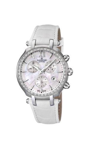 Candino WomenQuarz Uhr mit weissem Zifferblatt Chronograph Anzeige und weisse Lederband C4522 1