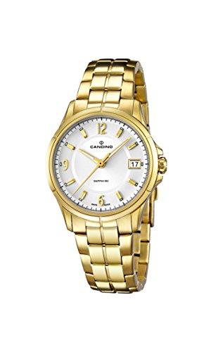 Candino Damen Quarzuhr mit weissem Zifferblatt Analog Anzeige und Gold Edelstahl vergoldet Armband C4535 1