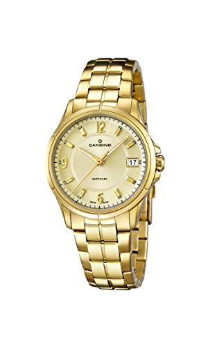 Candino Damen Quarzuhr mit Gold Zifferblatt Analog Anzeige und Gold Edelstahl vergoldet Armband C4535 2