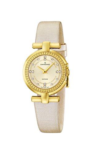 Candino Damen Quarzuhr mit Gold Zifferblatt Analog Anzeige und Beige Lederband C4561 2