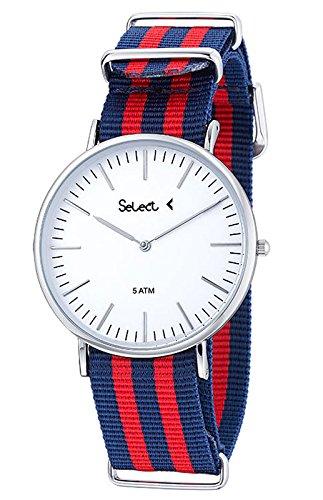 REF ce 03 09 Uhr Select Unisex analog Gehaeuse aus Edelstahl weisses Zifferblatt Armband Bicolor Blau und Rot wasserdicht 50 Meter 2 Jahre Garantie
