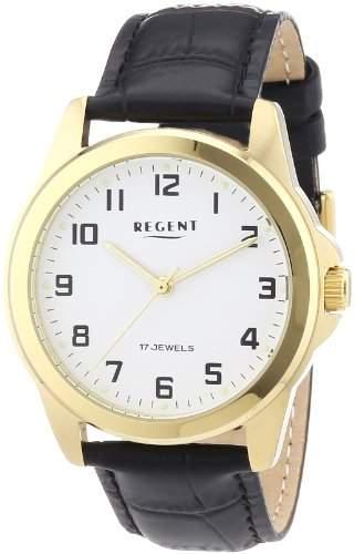 Regent Herren-Armbanduhr XL Analog Handaufzug Leder 11010021