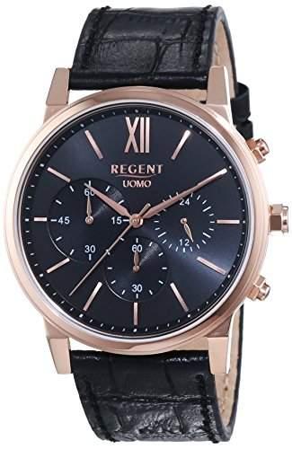 Regent Herren-Armbanduhr XL Analog Quarz Leder 11100244