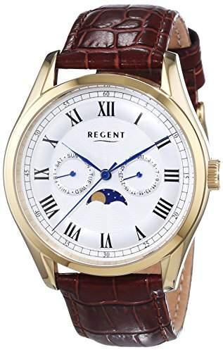 Regent Herren-Armbanduhr XL Analog Quarz Leder 11100245