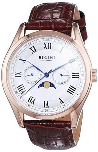 Regent Herren-Armbanduhr XL Analog Quarz Leder 11100246