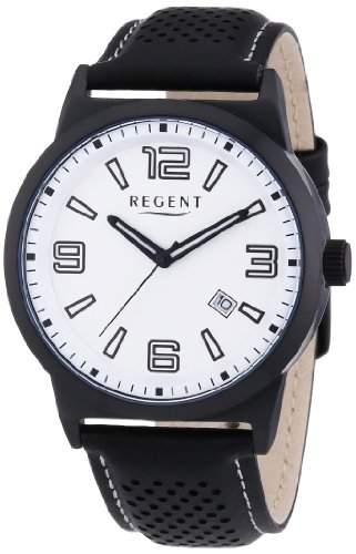 Regent Herren-Armbanduhr XL Analog Quarz Leder 11110635