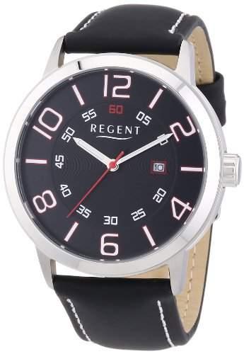 Regent Herren-Armbanduhr XL Analog Quarz Leder 11110658