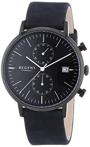 Regent Herren-Armbanduhr XL Analog Quarz Leder 11110675