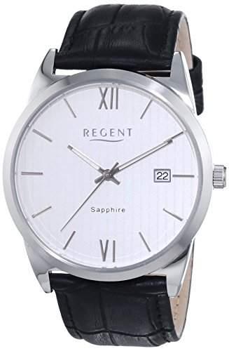 Regent Herren-Armbanduhr XL Analog Quarz Leder 11110693