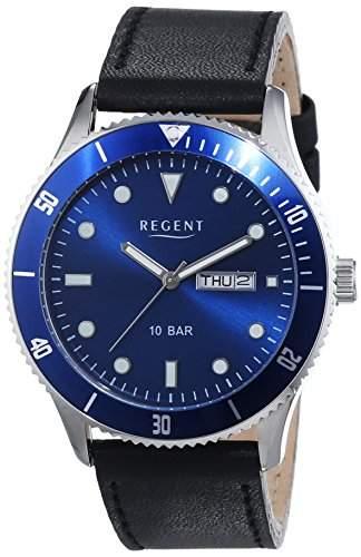 Regent Herren-Armbanduhr XL Analog Quarz Leder 11110706