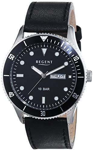 Regent Herren-Armbanduhr XL Analog Quarz Leder 11110707