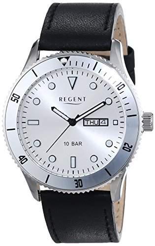 Regent Herren-Armbanduhr XL Analog Quarz Leder 11110708