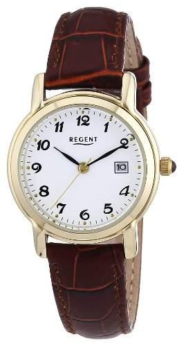 Regent Damen-Armbanduhr XS Analog Quarz Leder 12100466