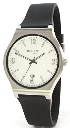 Regent 18034261 Edelstahl Herrenuhr Silikonband Schwarz