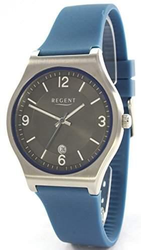 Regent 18034264 Edelstahl Herrenuhr Silikonband Blau