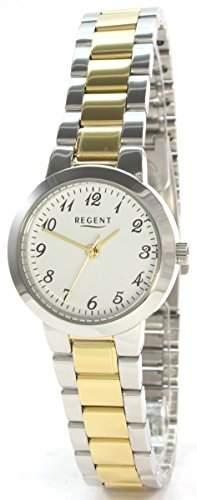 Regent 304041 Edelstahl Damenuhr Metallband Bicolor