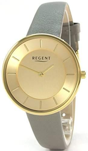 Regent 30414513 Edelstahl Damenuhr Gold Grau Lederband