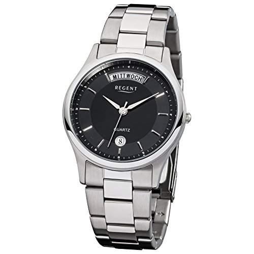 Regent Armbanduhr Herrenuhren mit Metallband-Kollektion Herren-Uhr mit Edelstahl-Armband silber analoges Quarzwerk D1URF779