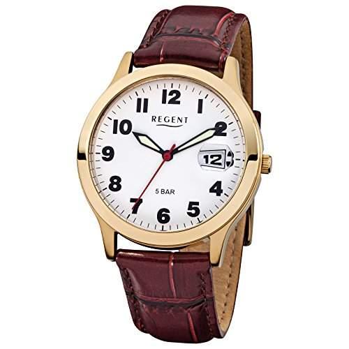 Herren-Uhr Regent mit Leder-Armband braun Edelstahl-Gehaeuse gold Quarzwerk D2URF789