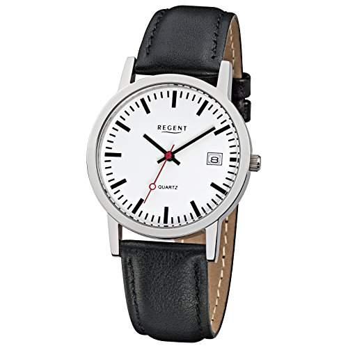 Damen Herren-Uhr Regent mit Leder-Armband schwarz Edelstahl-Gehaeuse silber Quarzwerk D2URF794