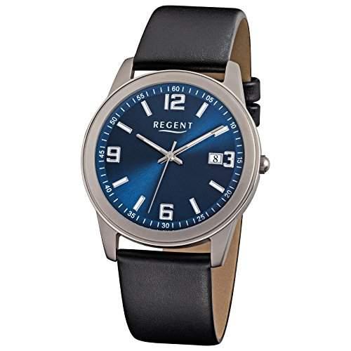 Herren-Uhr Regent mit Leder-Armband schwarz Titan Metall-Gehaeuse grau silber Quarzwerk D2URF844