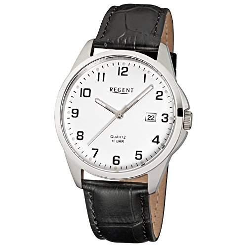 Herren-Uhr Regent mit Leder-Armband schwarz Edelstahl-Gehaeuse silber Quarzwerk D2URF913