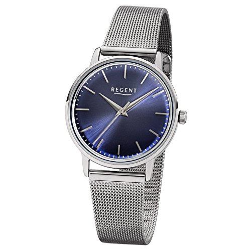 Regent Elegant Analog Edelstahl Armband silber Quarz Uhr Ziffernblatt dunkelblau UR2252485