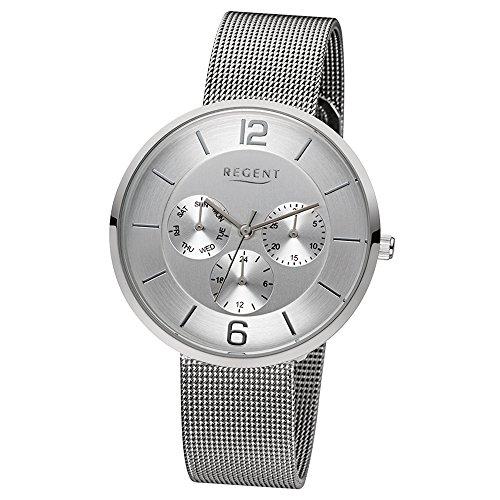 Regent Elegant Analog Edelstahl Armband silber Quarz Uhr Ziffernblatt silber weiss URLD1618
