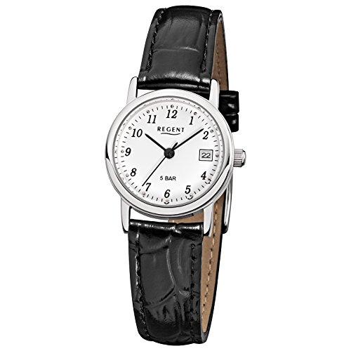 Regent Damen Armbanduhr Elegant Analog Leder Armband schwarz Quarz Uhr Ziffernblatt weiss URF827