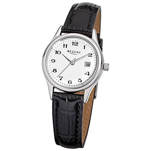 Regent Elegant Analog Leder Armband schwarz Quarz Uhr Ziffernblatt weiss URF833