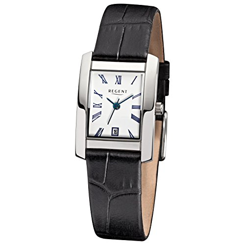 Regent Elegant Analog Leder Armband schwarz Quarz Uhr Ziffernblatt weiss URF585