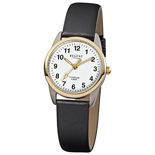 Regent Elegant Analog Leder Armband schwarz Quarz Uhr Ziffernblatt weiss URF661