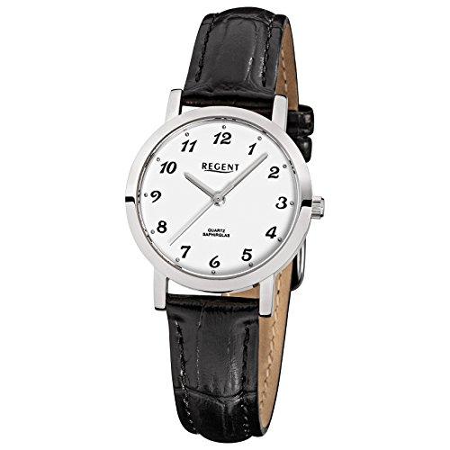 Regent Elegant Analog Leder Armband schwarz Quarz Uhr Ziffernblatt weiss URF514