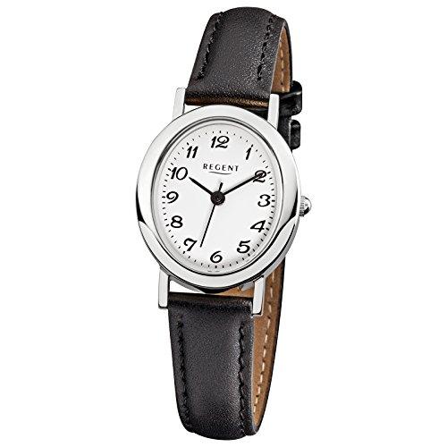 Regent Elegant Analog Leder Armband schwarz Quarz Uhr Ziffernblatt weiss URF580
