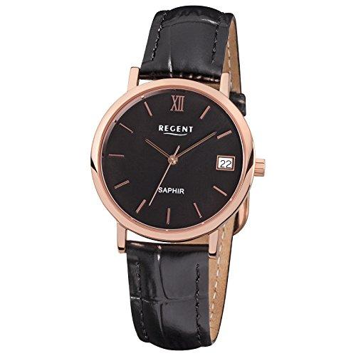 Regent Elegant Analog Leder Armband schwarz Quarz Uhr Ziffernblatt schwarz URF812