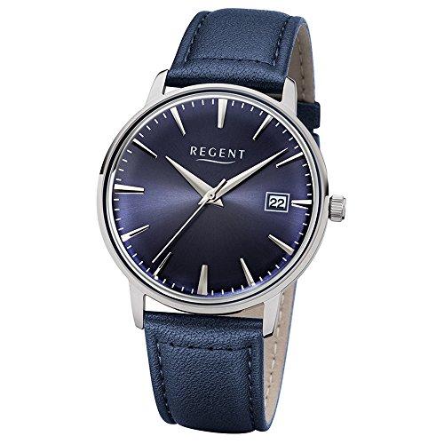 Regent Herren Elegant Analog Leder Armband dunkelblau Quarz Uhr Ziffernblatt dunkelblau UR1112490