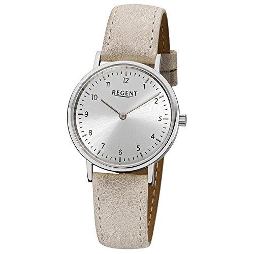 Regent Elegant Analog Leder Armband beige hellbraun Quarz Uhr Ziffernblatt silber URLD1609